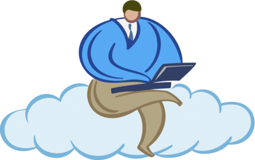 Man with laptop computer sitting on a cloud   Color