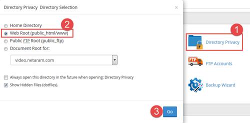 ایجاد رمز روی پوشه سایت توسط Directory Privacy سی پنل